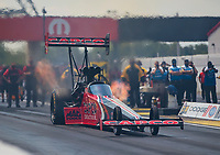 Aug 9, 2020; Clermont, Indiana, USA; NHRA top fuel driver Steve Torrence during the Indy Nationals at Lucas Oil Raceway. Mandatory Credit: Mark J. Rebilas-USA TODAY Sports