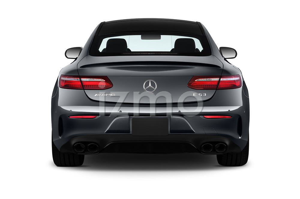 Straight rear view of 2019 Mercedes Benz E-Class AMG-E53 2 Door Coupe Rear View  stock images