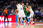 Real Madrid's player Gustavo Ayon and Unicaja Malaga's player Dejan Musli during match of Liga Endesa at Barclaycard Center in Madrid. September 30, Spain. 2016. (ALTERPHOTOS/BorjaB.Hojas)
