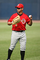 June 12th 2008:  Jorge Cortes of the Indianapolis Indians, Class-AAA affiliate of the Pittsburgh Pirates, during a game at Fifth Third Field in Toledo, OH.  Photo by:  Mike Janes/Four Seam Images