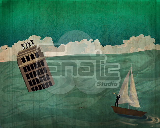 Businessman in sailboat trying to rescue people on building surrounded by flood water representing conquering adversity