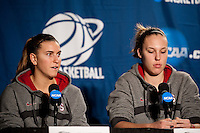 SPOKANE, WA - MARCH 27, 2011: Jeanette Pohlen, Kayla Pedersen,  during the off-day press conference, Stanford Women's Basketball, NCAA West Regionals on March 27, 2011.