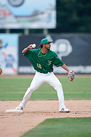 Beloit Snappers second baseman Jesus Lage (12) turns a double play during a game against the Dayton Dragons on July 22, 2018 at Pohlman Field in Beloit, Wisconsin.  Dayton defeated Beloit 2-1.  (Mike Janes/Four Seam Images)
