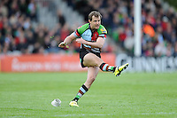 Nick Evans of Harlequins takes a penalty kick during the Aviva Premiership match between Harlequins and Bath Rugby at The Twickenham Stoop on Saturday 10th May 2014 (Photo by Rob Munro)