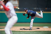 Scranton/Wilkes-Barre RailRiders starting pitcher Caleb Smith (21) during a game against the Rochester Red Wings on June 7, 2017 at Frontier Field in Rochester, New York.  Scranton defeated Rochester 5-1.  (Mike Janes/Four Seam Images)