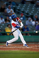 Stockton Ports third baseman Brallan Perez (2) at bat during a California League game against the Rancho Cucamonga Quakes at Banner Island Ballpark on May 16, 2018 in Stockton, California. Rancho Cucamonga defeated Stockton 6-3. (Zachary Lucy/Four Seam Images)