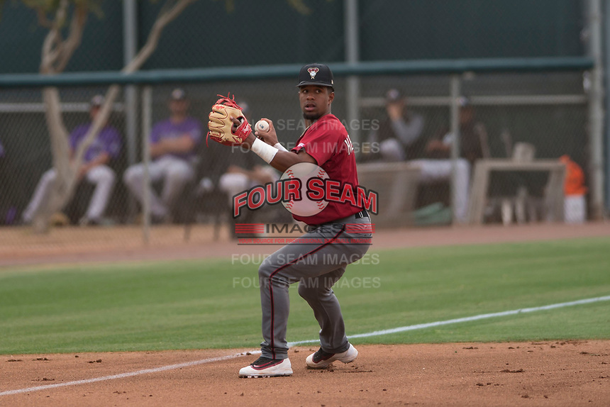 Arizona Diamondbacks third baseman Eddie Hernandez (14) during an Extended Spring Training game against the Colorado Rockies at Salt River Fields at Talking Stick on April 16, 2018 in Scottsdale, Arizona. (Zachary Lucy/Four Seam Images)
