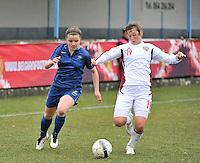 France U19 - Russia U19 : Alena Zhizhova with the tackle on French Aurelie Gagnet (left).foto DAVID CATRY / Nikonpro.be