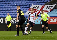 Bolton Wanderers' Ronan Darcy challenging Newcastle United U21's George Rounsfell (left) <br /> <br /> Photographer Andrew Kearns/CameraSport<br /> <br /> EFL Papa John's Trophy - Northern Section - Group C - Bolton Wanderers v Newcastle United U21 - Tuesday 17th November 2020 - University of Bolton Stadium - Bolton<br />  <br /> World Copyright © 2020 CameraSport. All rights reserved. 43 Linden Ave. Countesthorpe. Leicester. England. LE8 5PG - Tel: +44 (0) 116 277 4147 - admin@camerasport.com - www.camerasport.com