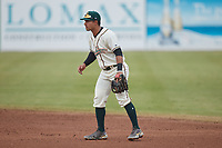 Greensboro Grasshoppers second baseman Nick Gonzales (2) on defense against the Rome Braves at First National Bank Field on May 16, 2021 in Greensboro, North Carolina. (Brian Westerholt/Four Seam Images)