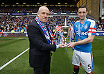 Mark Warburton and Rangers captain Lee Wallace with the league trophy