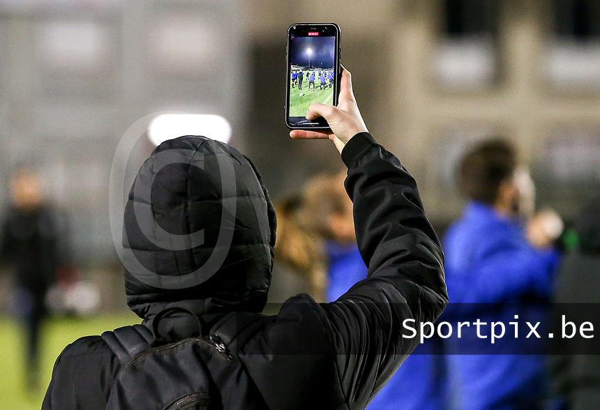Club Brugge social media officer is films the warm up before a female soccer game between FC Femina White Star Woluwe and Club Brugge YLA on the eleventh matchday of the 2020 - 2021 season of Belgian Scooore Womens Super League , Friday 22 January 2021  in Woluwe , Belgium . PHOTO SPORTPIX.BE   SPP   SEVIL OKTEM