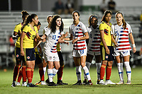 Lakewood Ranch, FL - Wednesday, October 10, 2018:   Sophia Jones, Ainsley Ahmadian, Trinity Byars, Natalia Staude during a U-17 USWNT match against Colombia.  The U-17 USWNT defeated Colombia 4-1.