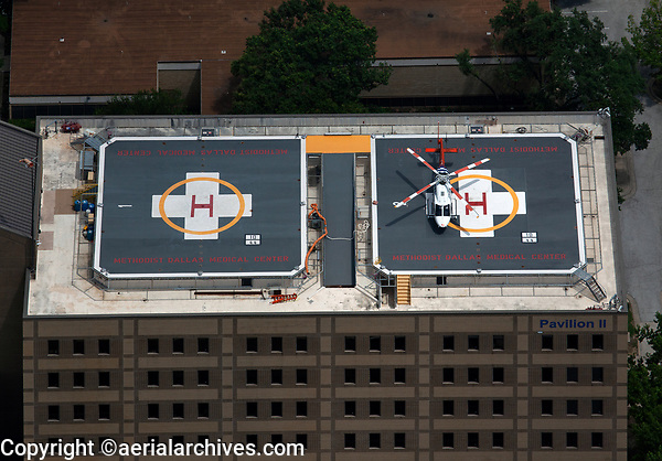 aerial photograph of two helipads on Pavillion II of the Methodist Dallas Medical Center, Dallas, Texas