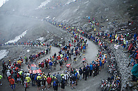 2 Lotto-Soudal teammates up the dirt roads of the Colle delle Finestre (2178m)<br /> <br /> Giro d'Italia 2015<br /> stage 20: Saint Vincent - Sestriere (199km)