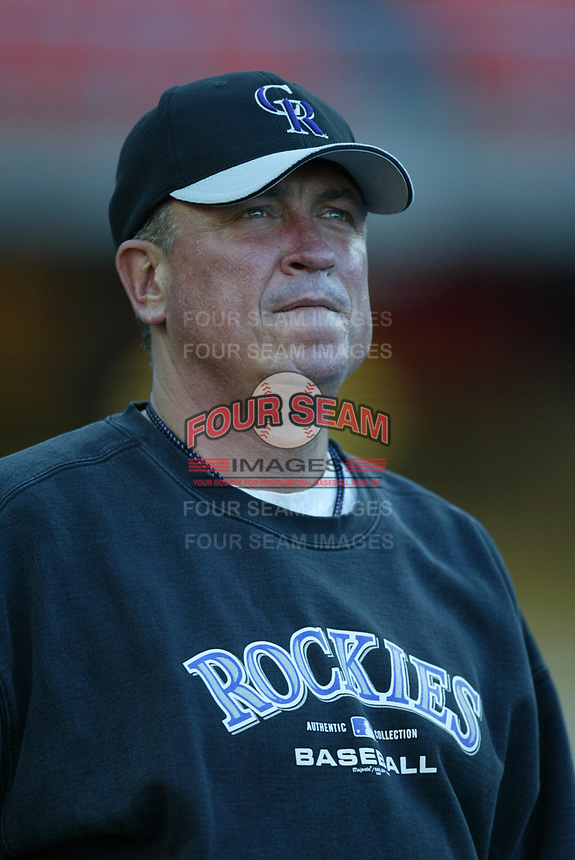 Colorado Rockies Manager Clint Hurdle during a 2003 season MLB game at Dodger Stadium in Los Angeles, California. (Larry Goren/Four Seam Images)