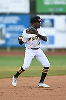 Bristol Pirates shortstop Jesus Valdez (3) throws to first base during the game with the Burlington Royals at Boyce Cox Field on June 19, 2019 in Bristol, Virginia. The Royals defeated the Pirates 1-0. (Tracy Proffitt/Four Seam Images)