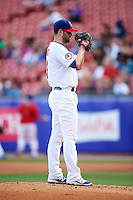 Buffalo Bisons starting pitcher Scott Diamond (17) looks in for the sign during a game against the Lehigh Valley IronPigs on July 9, 2016 at Coca-Cola Field in Buffalo, New York.  Lehigh Valley defeated Buffalo 9-1 in a rain shortened game.  (Mike Janes/Four Seam Images)