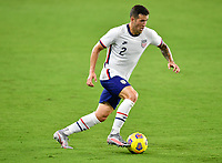 ORLANDO CITY, FL - JANUARY 31: Aaron Herrera #2 of the United States turns with the ball during a game between Trinidad and Tobago and USMNT at Exploria stadium on January 31, 2021 in Orlando City, Florida.