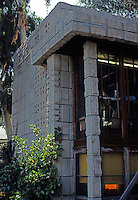 F.L. Wright: Storer House, 1923. West Hollywood.  Photo '78.