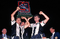 Damien Mori and Alex Tobin hold the winning trophy for Adelaide City who won 2-0 over the Knights<br /> Grand Final - Adelaide City vs Melbourne Knights<br /> 1992 Coca Cola National Soccer League<br /> May 3rd 1992 / Olympic Park - Melbourne<br /> © Sport the library / Ian Kenins