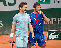 Paris, France, 02 ,10,  2020, Tennis, French Open, Roland Garros, Men's doubles: Wesley Koolhof (NED) (L) and Nilola Mektic (CRO)<br /> Photo: Susan Mullane/tennisimages.com