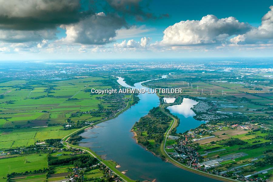 Bunthäuser Spitze wo die Elbe sich teilt: EUROPA, DEUTSCHLAND, HAMBURG, NIEDERSACHSEN (EUROPE, GERMANY),28.09.2021: Bunthäuser Spitze wo die Elbe sich teilt in Norderelbe und Süderelbe