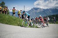 (eventual stage winner) Pello Bilbao (ESP/Astana) leading the group of favorites up the Cima Campo climb<br /> <br /> Stage 20: Feltre to Croce D'Aune-Monte Avena (194km)<br /> 102nd Giro d'Italia 2019<br /> <br /> ©kramon