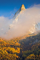 Autumn colours on the Aiguilles de Chamonix at sunset, Chamonix, France