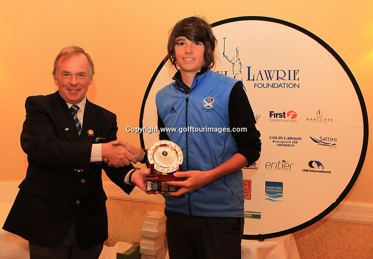 Iain Harvey, President, Scottish Golf Union presents Niall McMullen with the runners up trophy for The Paul Lawrie Foundation, Scottish Schools  Golf Championship Trophy: The Paul Lawrie Foundation Scottish Schools Golf Championships played at Murrayshall House Hotel and Golf Courses on 10th June 2013: Picture Stuart Adams www.golftourimages.com: 10th June 2013