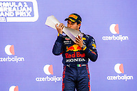 6th June 2021; F1 Grand Prix of Azerbaijan, Race Day;  PEREZ Sergio (mex), Red Bull Racing Honda RB16B,  celebrating his victory at the podium during the Formula 1 Azerbaijan Grand Prix 2021 at the Baku City Circuit