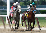 June 7, 2014: #8 Norumbega (left), Joel Rosario up, wins the 126th running of the Grade II Brooklyn Invitational, one and a half miles,  at Belmont Park , Elmont, NY Trainer is Shug McGaughey ©Joan Fairman Kanes/ESW/CSM