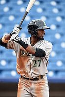 Dayton Dragons outfielder Gabriel Rosa (27) at bat during a game against the Lake County Captains on June 8, 2014 at Classic Park in Eastlake, Ohio.  Lake County defeated Dayton 4-2.  (Mike Janes/Four Seam Images)