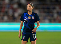 ORLANDO, FL - MARCH 05: Christen Press #23 of the United States watches for the ball during a game between England and USWNT at Exploria Stadium on March 05, 2020 in Orlando, Florida.