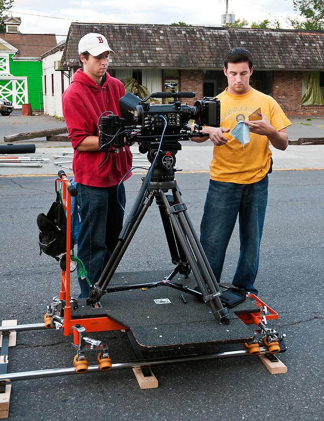 Dennis Donovan and Phil Toran set up the Red One digital cinema camera.