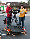 Dennis Donovan and Phil Toran set up the Red One digital cinema camera.