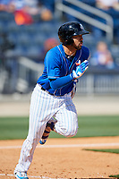 Biloxi Shuckers second baseman Javier Betancourt (7) runs to first base during a game against the Jackson Generals on April 23, 2017 at MGM Park in Biloxi, Mississippi.  Biloxi defeated Jackson 3-2.  (Mike Janes/Four Seam Images)