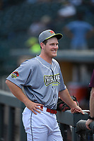 Pitcher Cole Gordon (48) of the Columbia Fireflies, playing as the Chicharrones de Columbia, before a game against the Charleston RiverDogs on Friday, July 12, 2019 at Segra Park in Columbia, South Carolina. The RiverDogs won, 4-3, in 10 innings. (Tom Priddy/Four Seam Images)