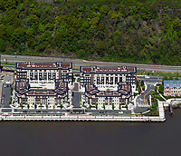 aerial photograph of riverfront apartments along the Hudson River, Weehawken, Hudson County, New Jersey
