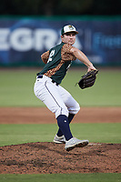 Charleston Boiled Peanuts relief pitcher Trey Cumbie (12) in action against the Augusta GreenJackets at Joseph P. Riley, Jr. Park on June 26, 2021 in Charleston, South Carolina. (Brian Westerholt/Four Seam Images)