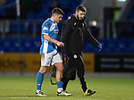 St Johnstone v Motherwell…17.12.16     McDiarmid Park    SPFL<br />Michael Coulson limps off with physio Tony Tompos<br />Picture by Graeme Hart.<br />Copyright Perthshire Picture Agency<br />Tel: 01738 623350  Mobile: 07990 594431