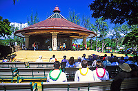 The Kapiolani bandstand,in Kapiolani park, hosts a variety of entertainment from hula shows to the Royal Hawaiian Band.