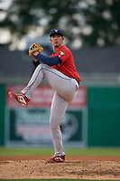 State College Spikes pitcher Jack Ralston (27) during a NY-Penn League game against the Batavia Muckdogs on July 2, 2019 at Dwyer Stadium in Batavia, New York.  Batavia defeated State College 1-0.  (Mike Janes/Four Seam Images)