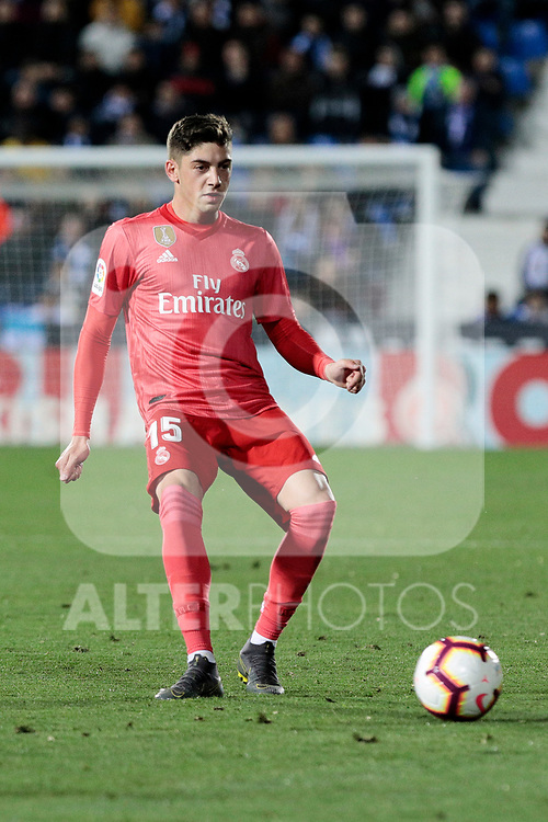 Real Madrid's Federico Valverde during La Liga match between CD Leganes and Real Madrid at Butarque Stadium in Leganes, Spain. April 15, 2019. (ALTERPHOTOS/A. Perez Meca)