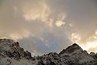 Last sun on Broken Hand Peak.  Crestone Needle is to the right.