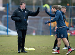 St Johnstone Training…27.03.18<br />Manager Tommy Wright high fives David Wotherspoon during training this morning at McDiarmid Park ahead of tomorrow's game against Hamilton Accies<br />Picture by Graeme Hart.<br />Copyright Perthshire Picture Agency<br />Tel: 01738 623350  Mobile: 07990 594431