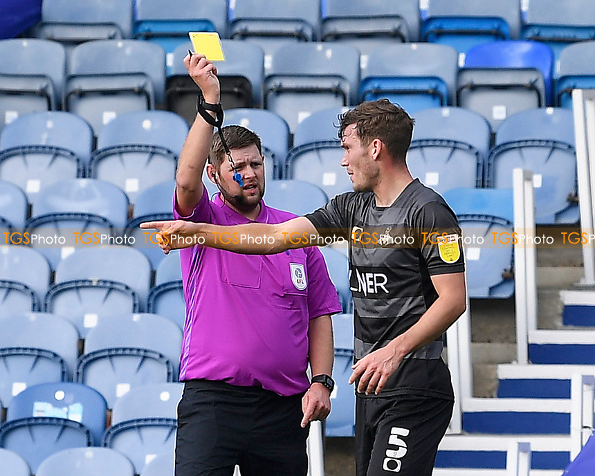 Joe Wright of Doncaster Rovers receives a yellow card from Referee Brett Huxtable during Portsmouth vs Doncaster Rovers, Sky Bet EFL League 1 Football at Fratton Park on 17th October 2020