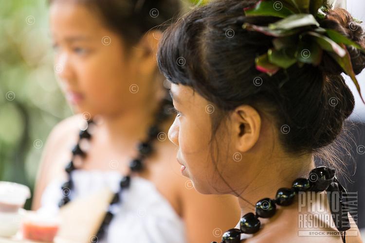 Young hula dancers at a Makahiki Festival recital in Waimea Valley on O'ahu.