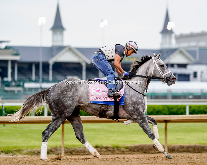 April 28, 2021: Travel Column, trained by trainer Brad Cox, exercises in preparation for the Kentucky Oaks at Churchill Downs on April 29, 2021 in Louisville, Kentucky. Scott Serio/Eclipse Sportswire/CSM