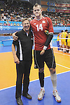 November 18 2011 - Guadalajara, Mexico:   CEO Henry Storgaard congradulates Greg Stewart from the Men's Sitting Volleyball Team after winning the Bronze Medal at the 2011 Parapan American Games.  Photos: Matthew Murnaghan/Canadian Paralympic Committee